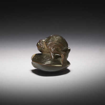Kōmin dark wood netsuke of a Kappa