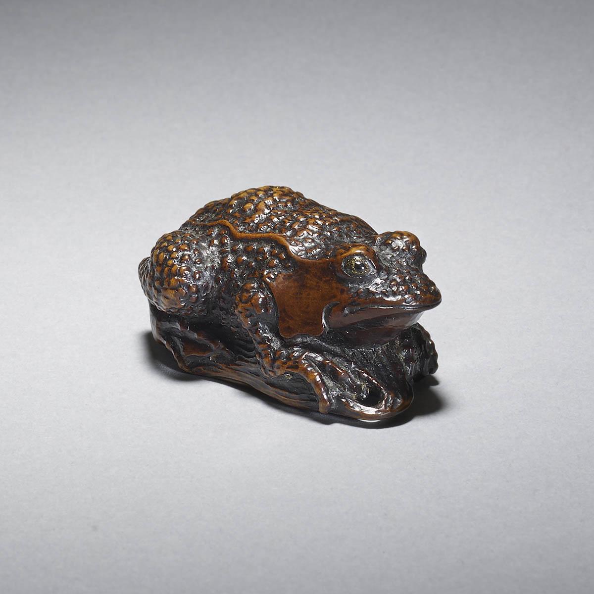 Iwami style soft wood netsuke of a toad