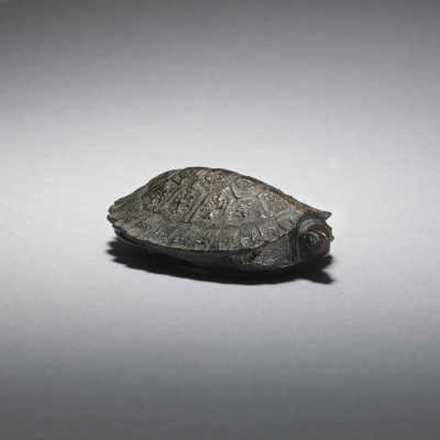 Dark wood netsuke of a turtle