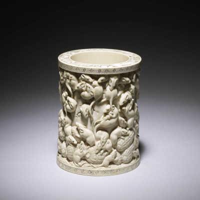 Masakazu, ivory brush pot carved with rats