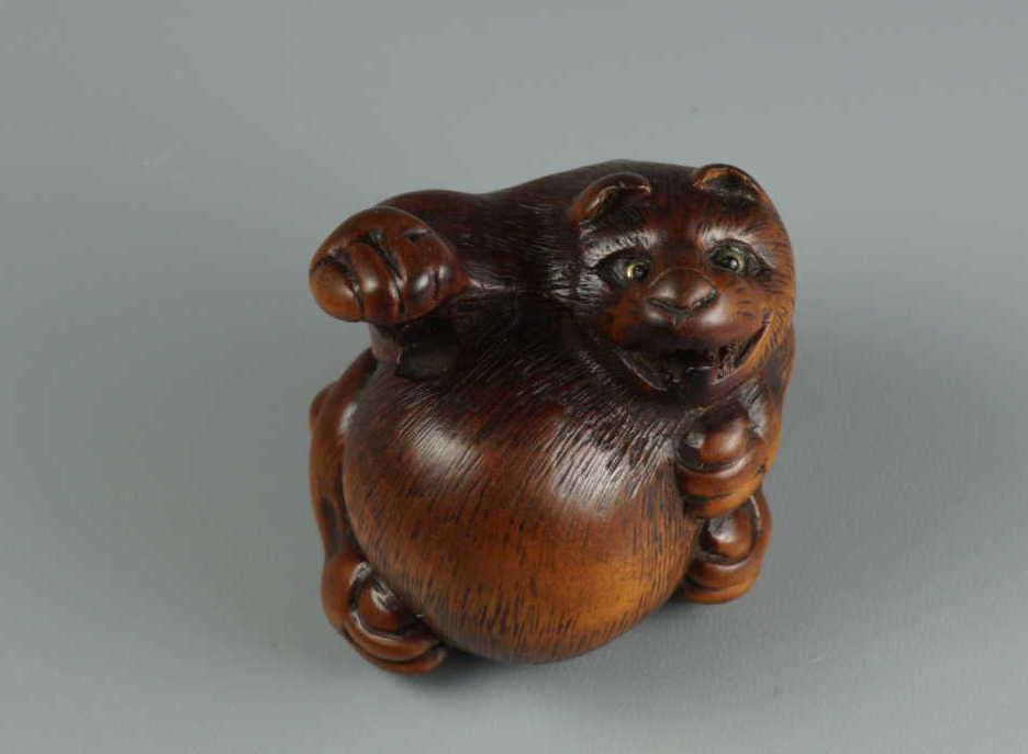 Minko, wood netsuke of tanuki,