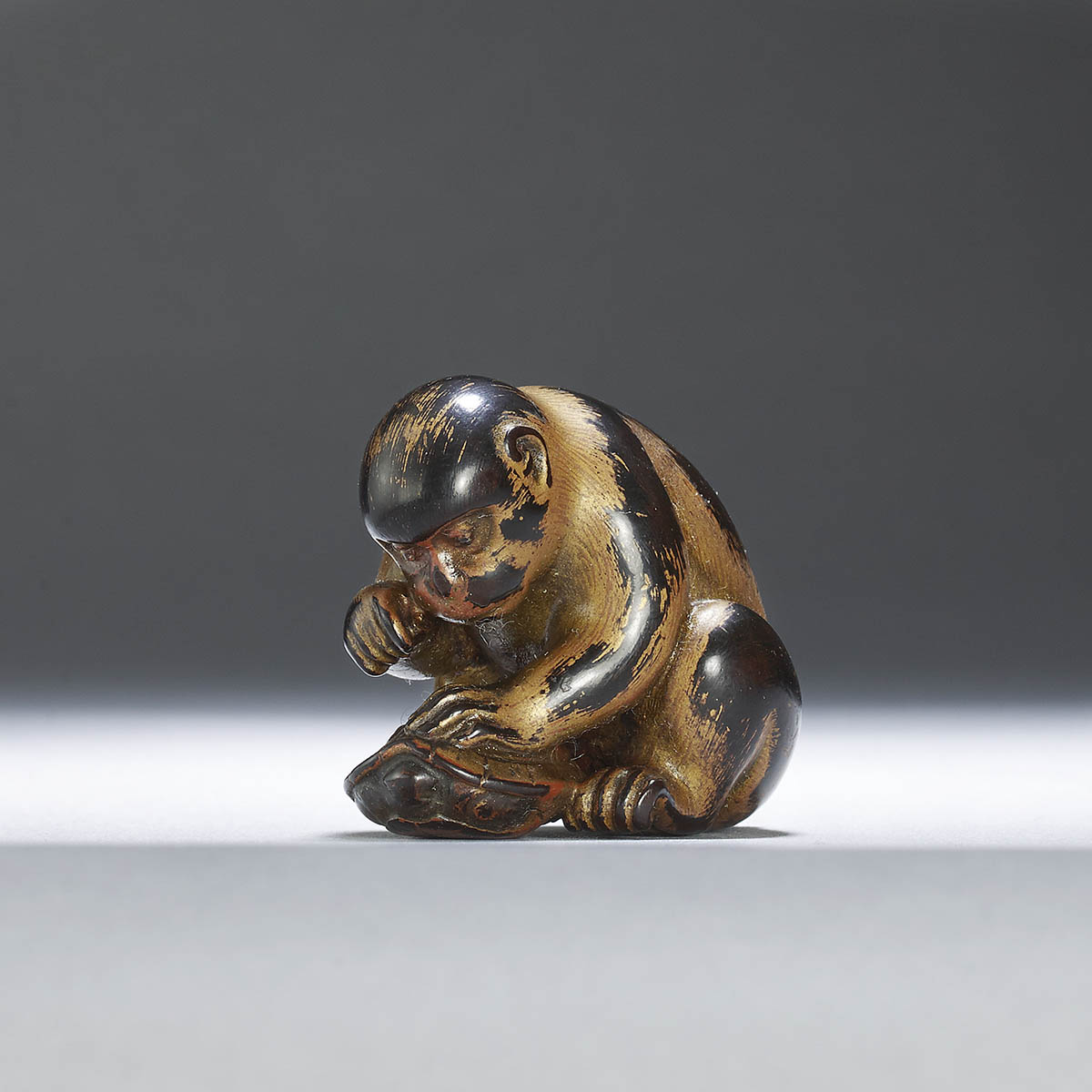 Okatori,Lacquered wood netsuke of monkey and tortoise