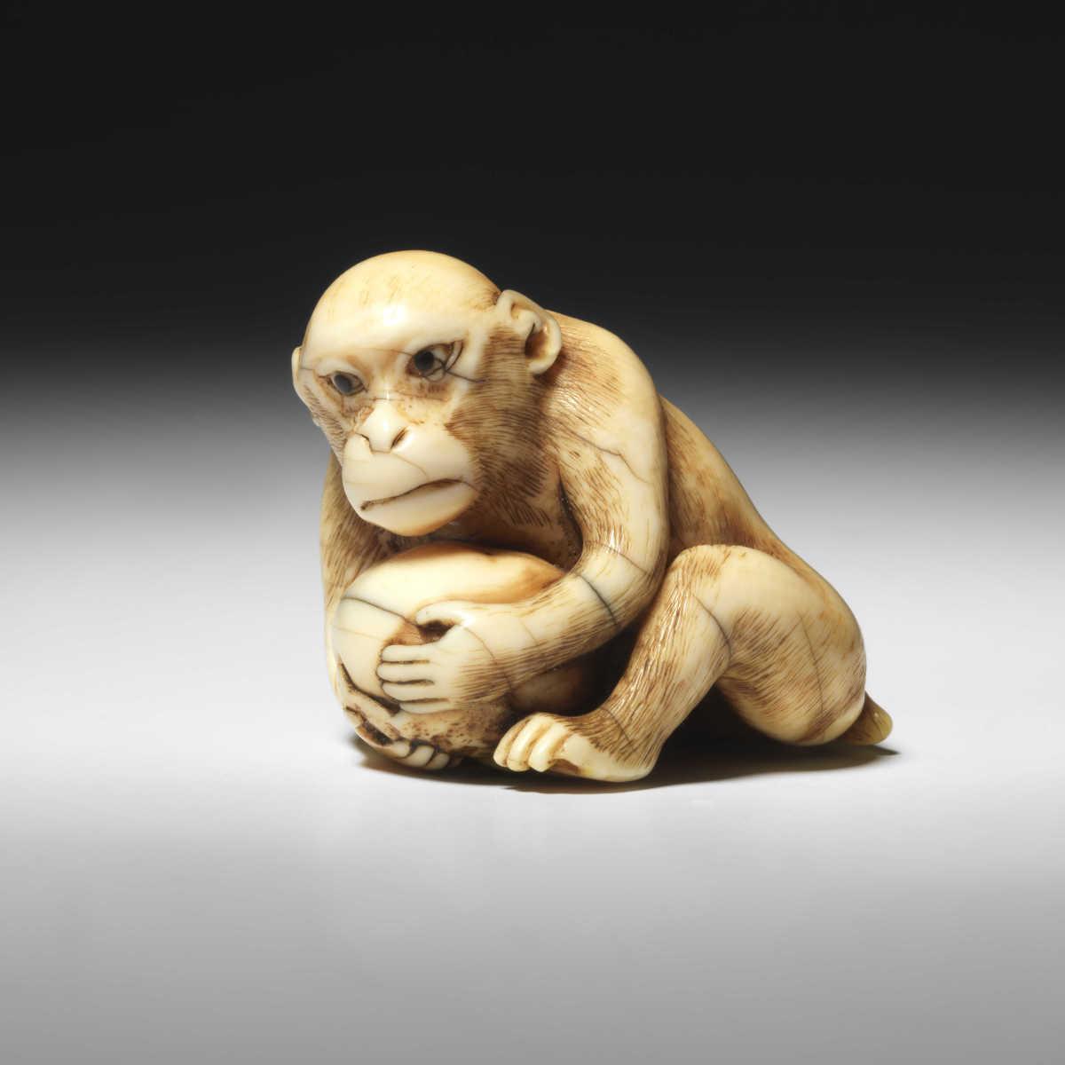 Rantei Ivory Netsuke of a Monkey with Kaki