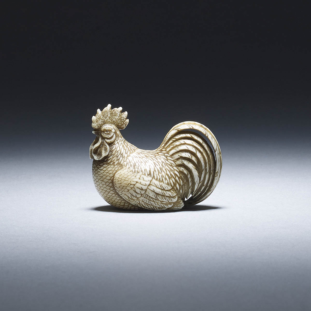 Ryumei Ivory netsuke of a cockerel
