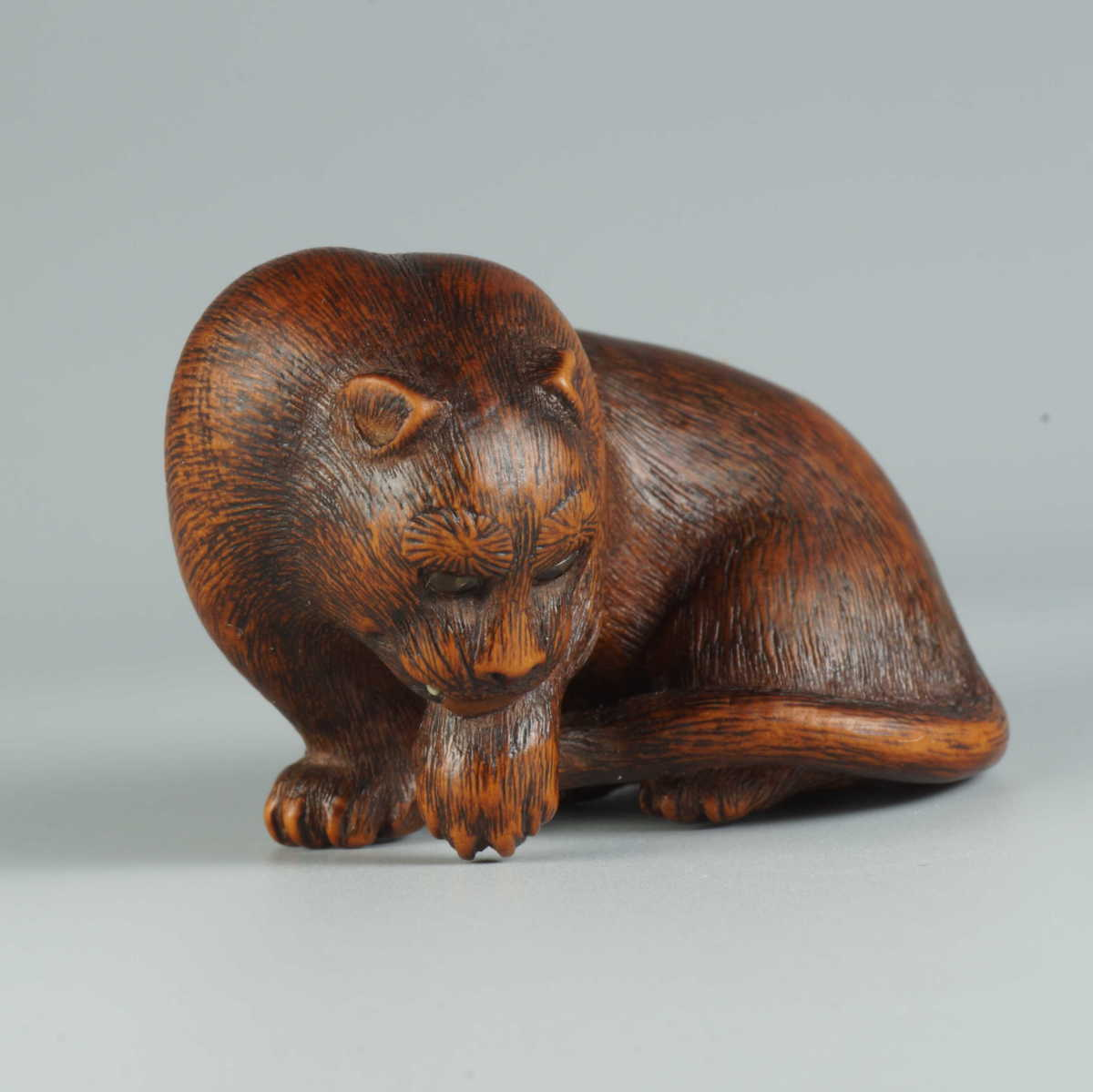 Tomokazu wood netsuke of a wild cat