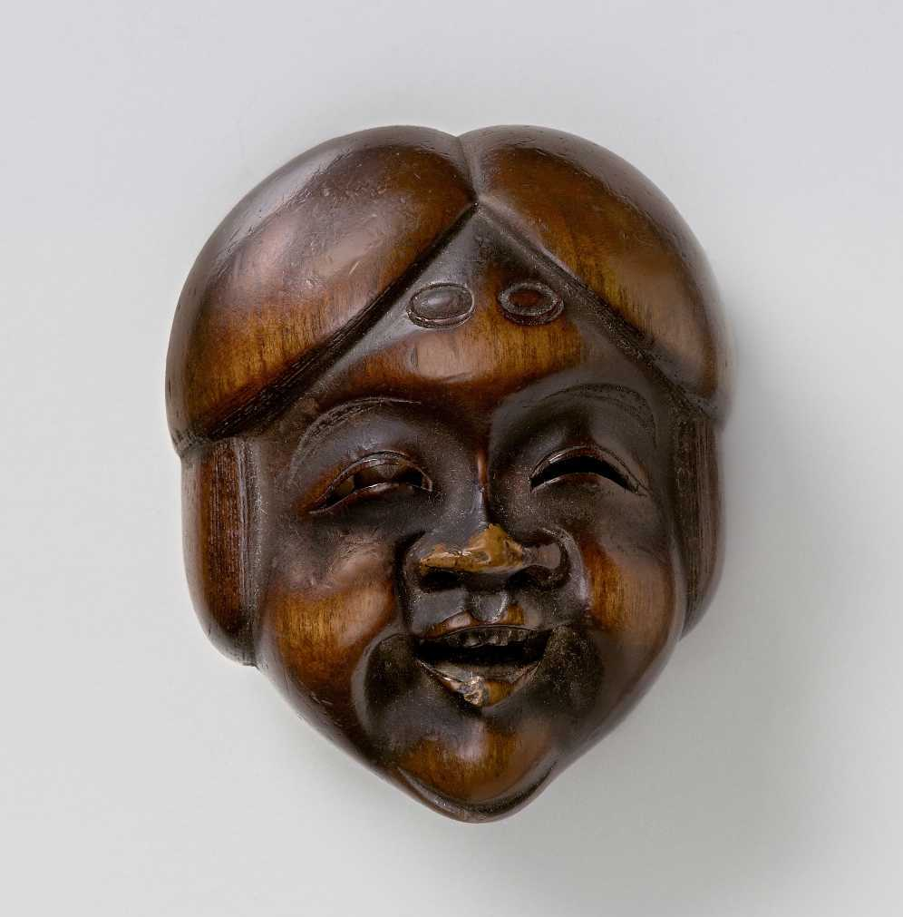 Shūzan, Wood mask netsuke of Okame_MR2371