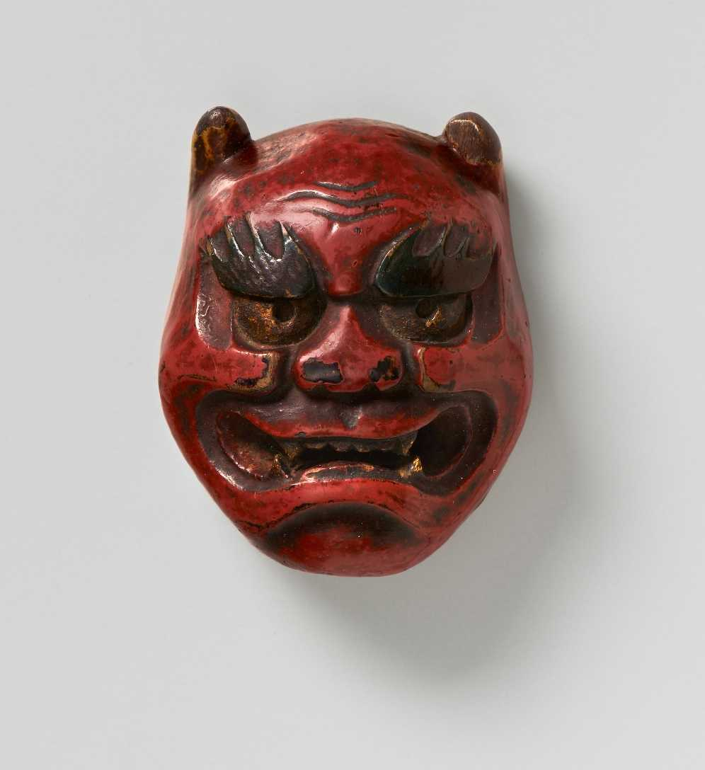Hokka (Hokke), Lacquered wood mask netsuke of Oni, MR2374