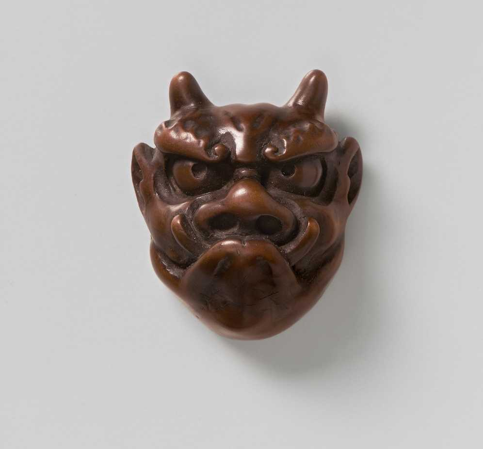 Miniature wood mask of Oni, MR2375