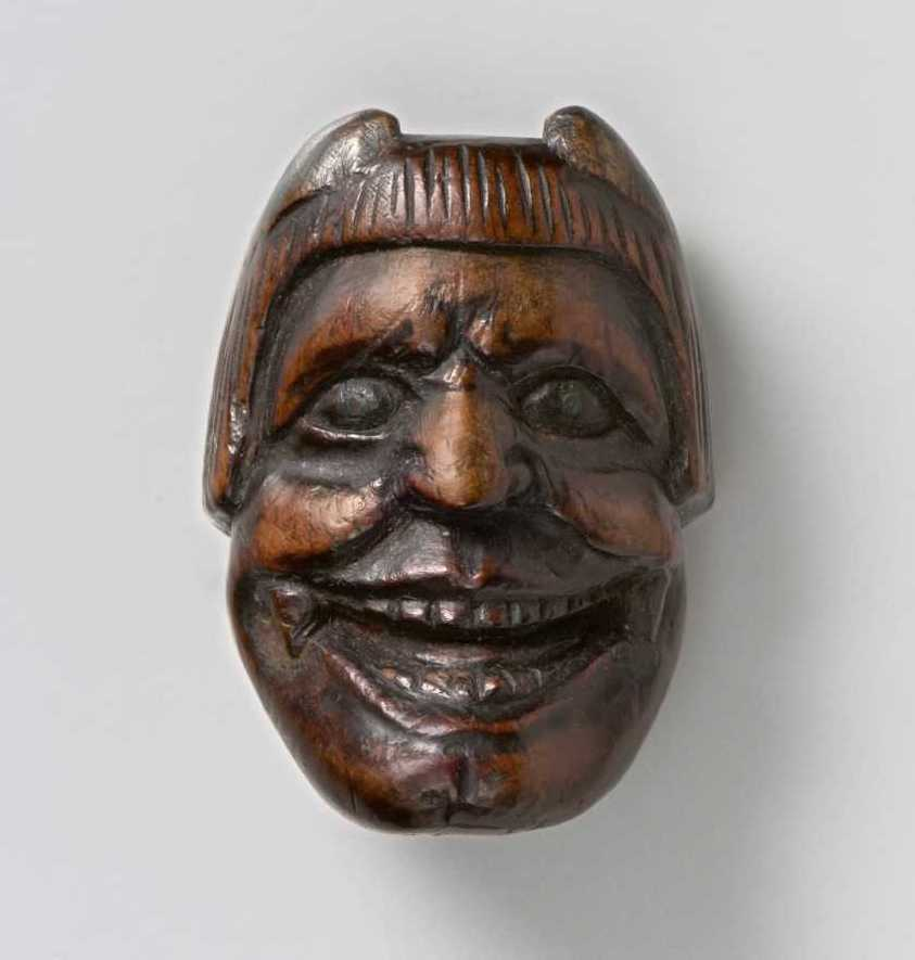 Wood mask netsuke of Oni,