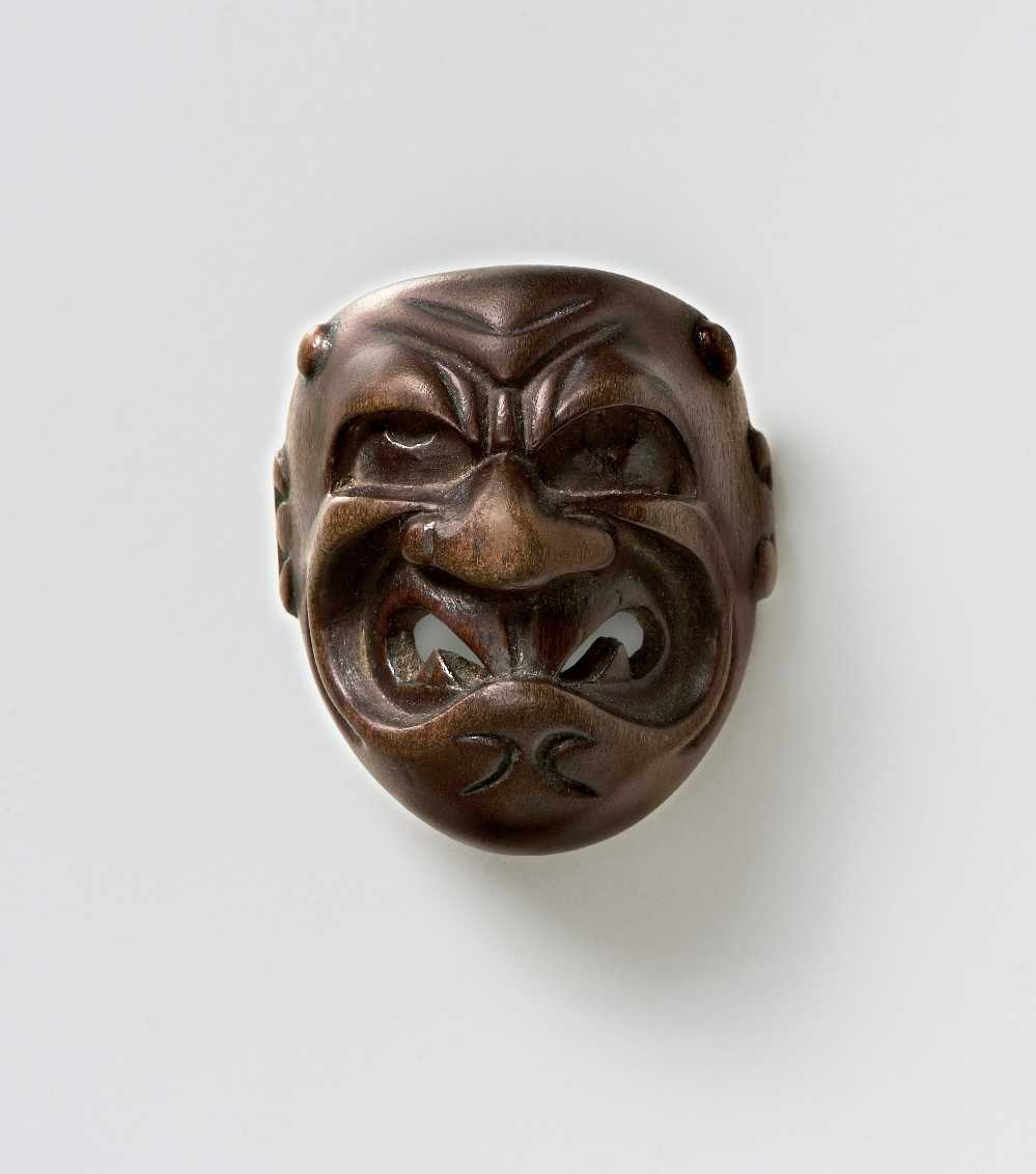 Wood mask netsuke of Oni