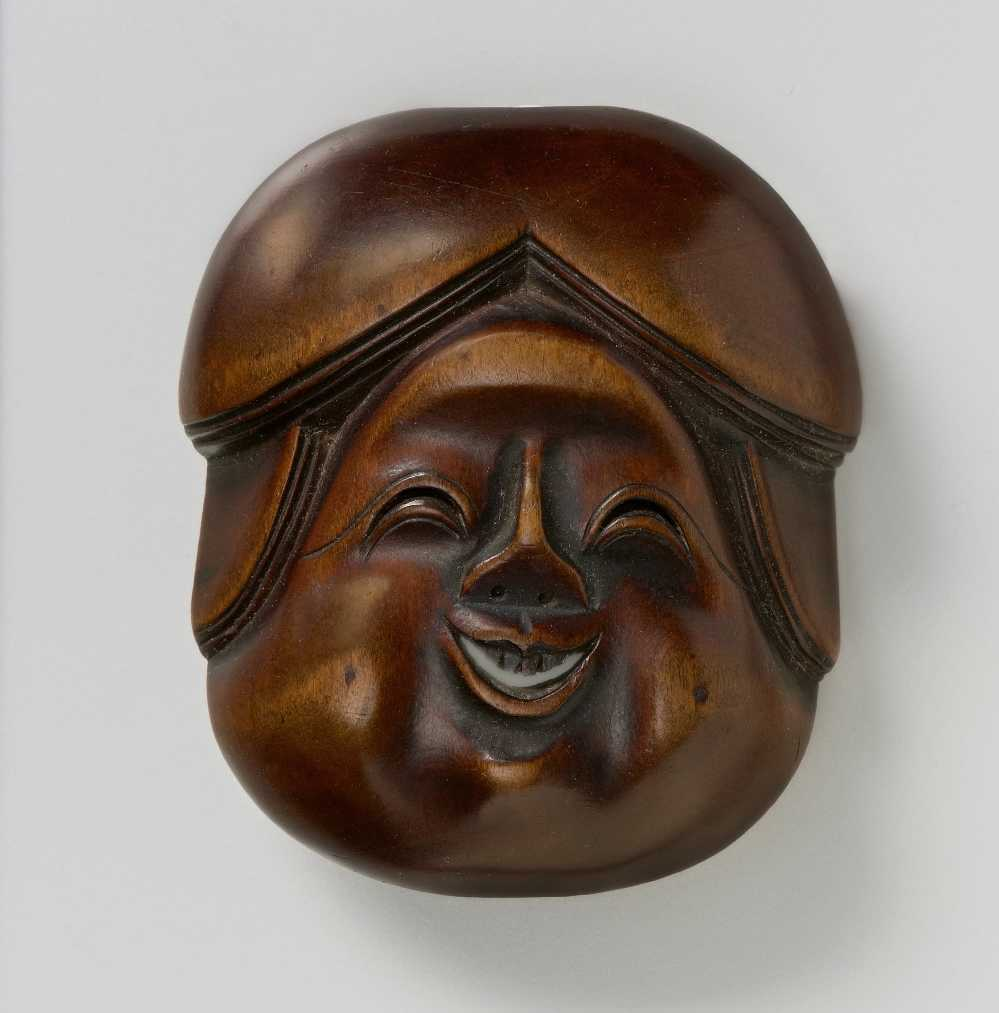 Gyokko, Wood mask netsuke of Okame