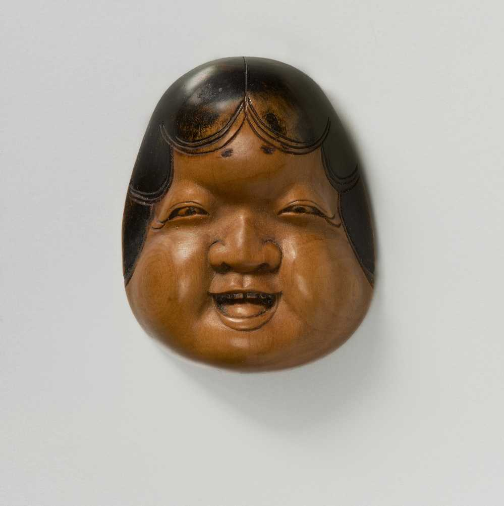 Hidari Issan, wood mask netsuke of Oto,