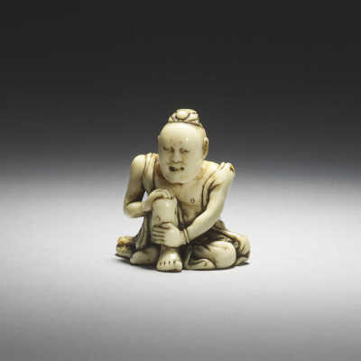 Ikkosai, Ivory netsuke of a nio with moxa