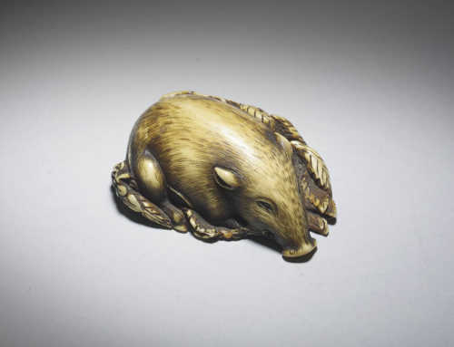 **SOLD** Ivory netsuke of a Boar sleeping on leaves
