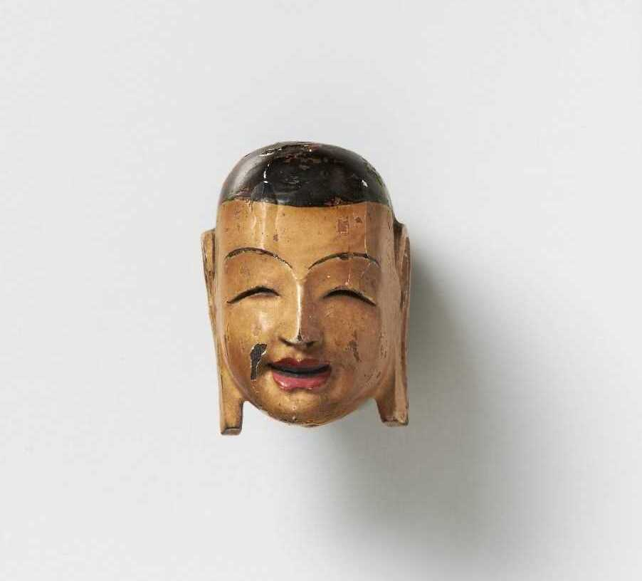Kano Tessai, lacquered wood mask netsuke of Buddha