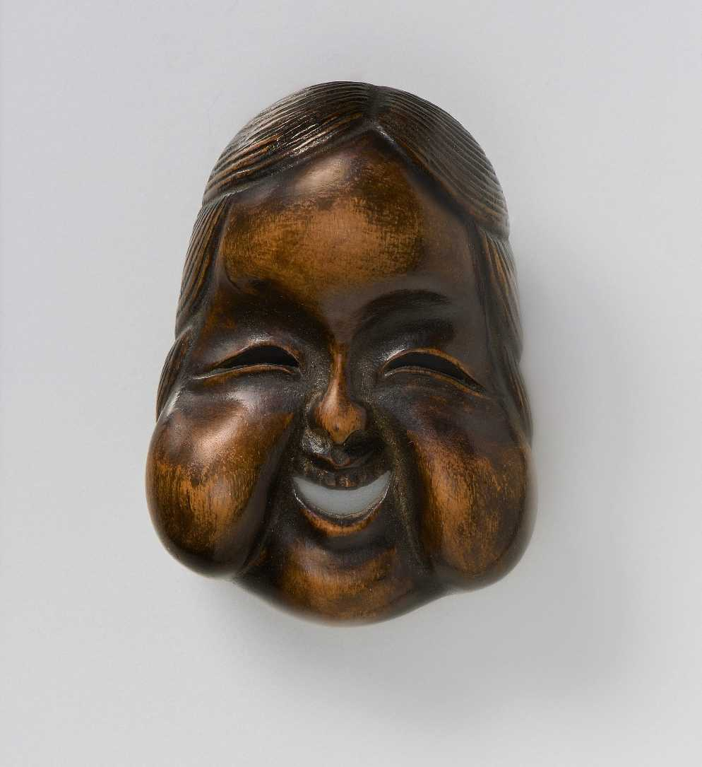 Kano Tessai, wood mask netsuke of Oto_
