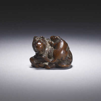 Kokei, A wood netsuke of a horse and foal