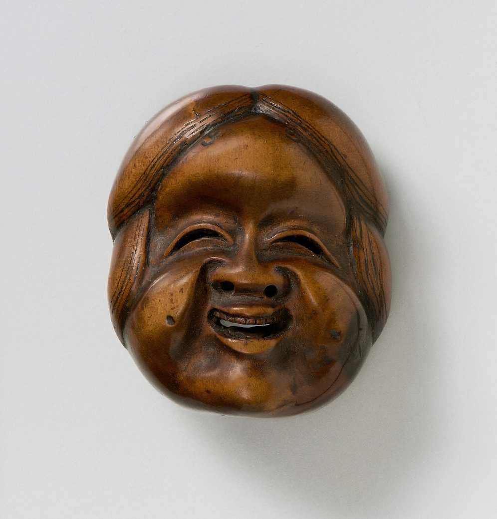 Kuminitsu, Wood mask netsuke of Okame,