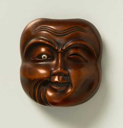 Boxwood mask netsuke