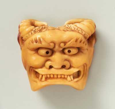 Mask netsuke of Oni,