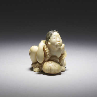 Meikeisai Homin, Ivory netsuke of an ama and octopus