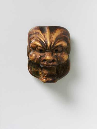 Mitsushige, Wood mask netsuke of Tenjin