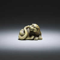 Okatomo, ivory netsuke of a male tiger_