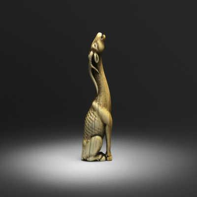 Okatomo, ivory netsuke of a stag