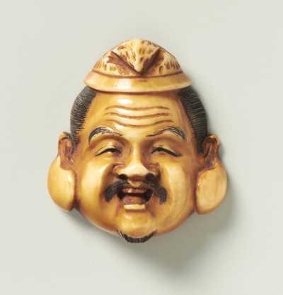 Partly stained mask netsuke of Ebisu,