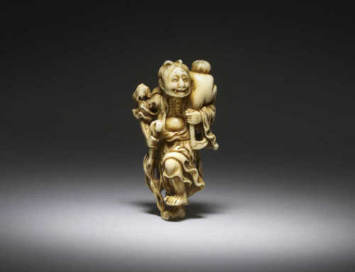 **SOLD** Ivory netsuke of Yamauba with Kintoki
