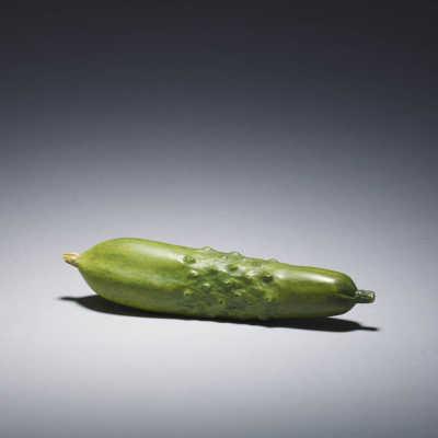 Seiko (Kiyomitsu), stained ivory okimono of a cucumber