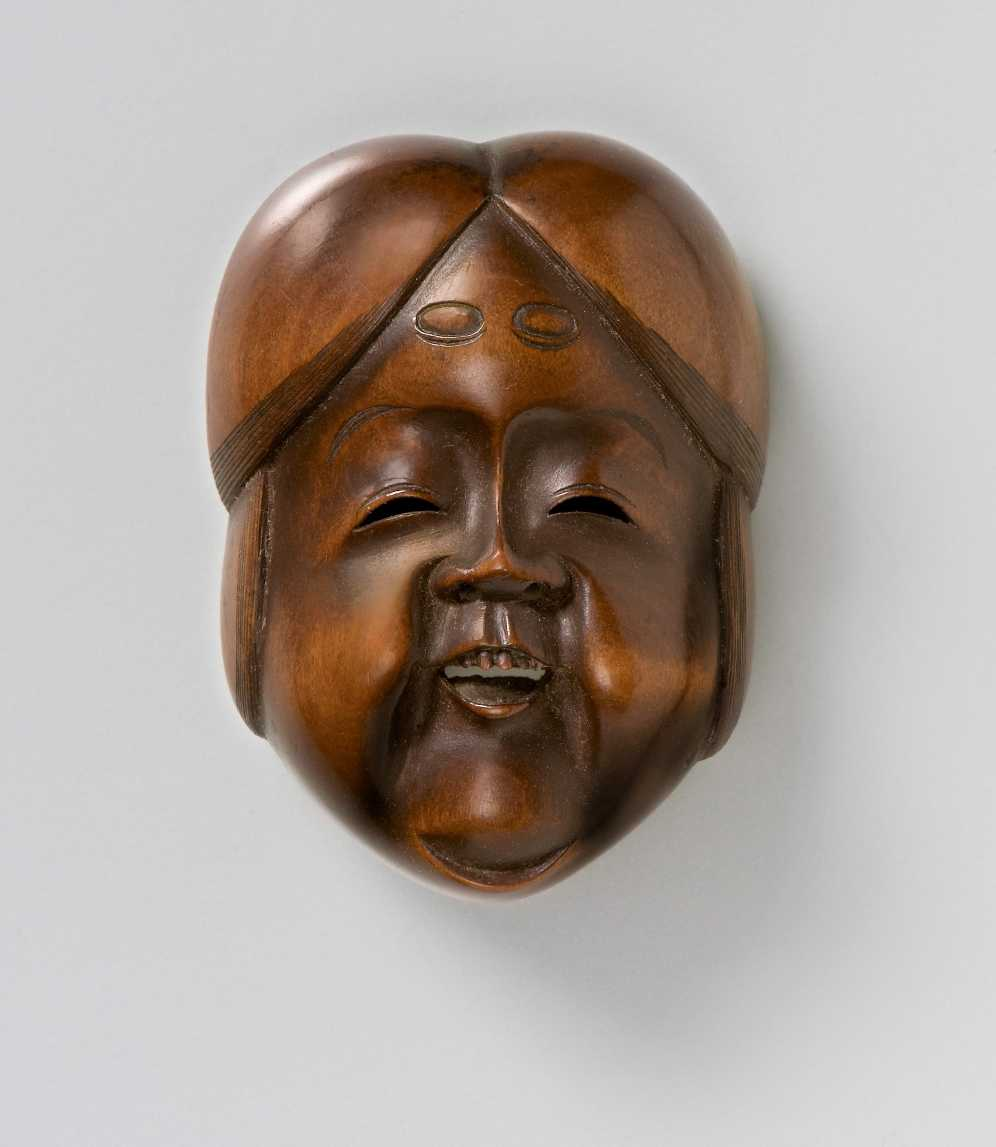 Shukoku, Wood mask netsuke of Okame