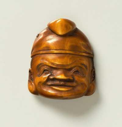 Stained mask netsuke of Ebisu
