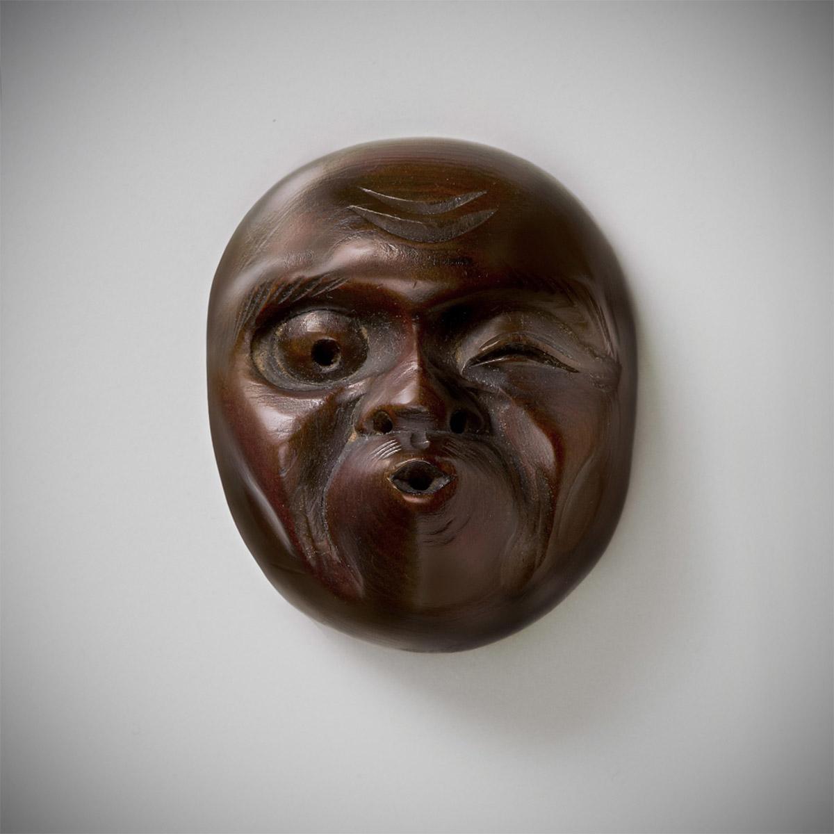 Sukenobu, wood mask netsuke of Usibuki_MR2355-2