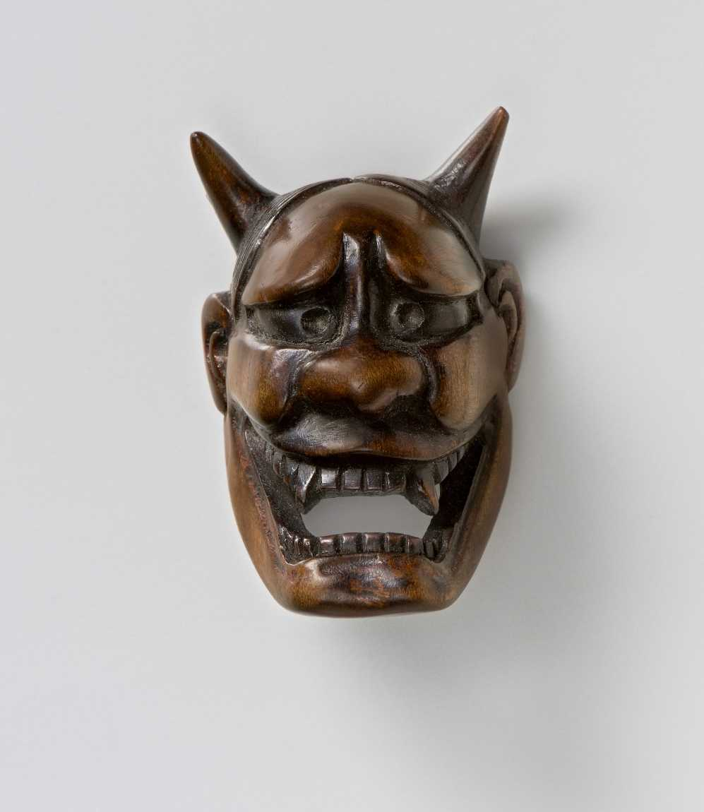 Wood mask netsuke of Hannya