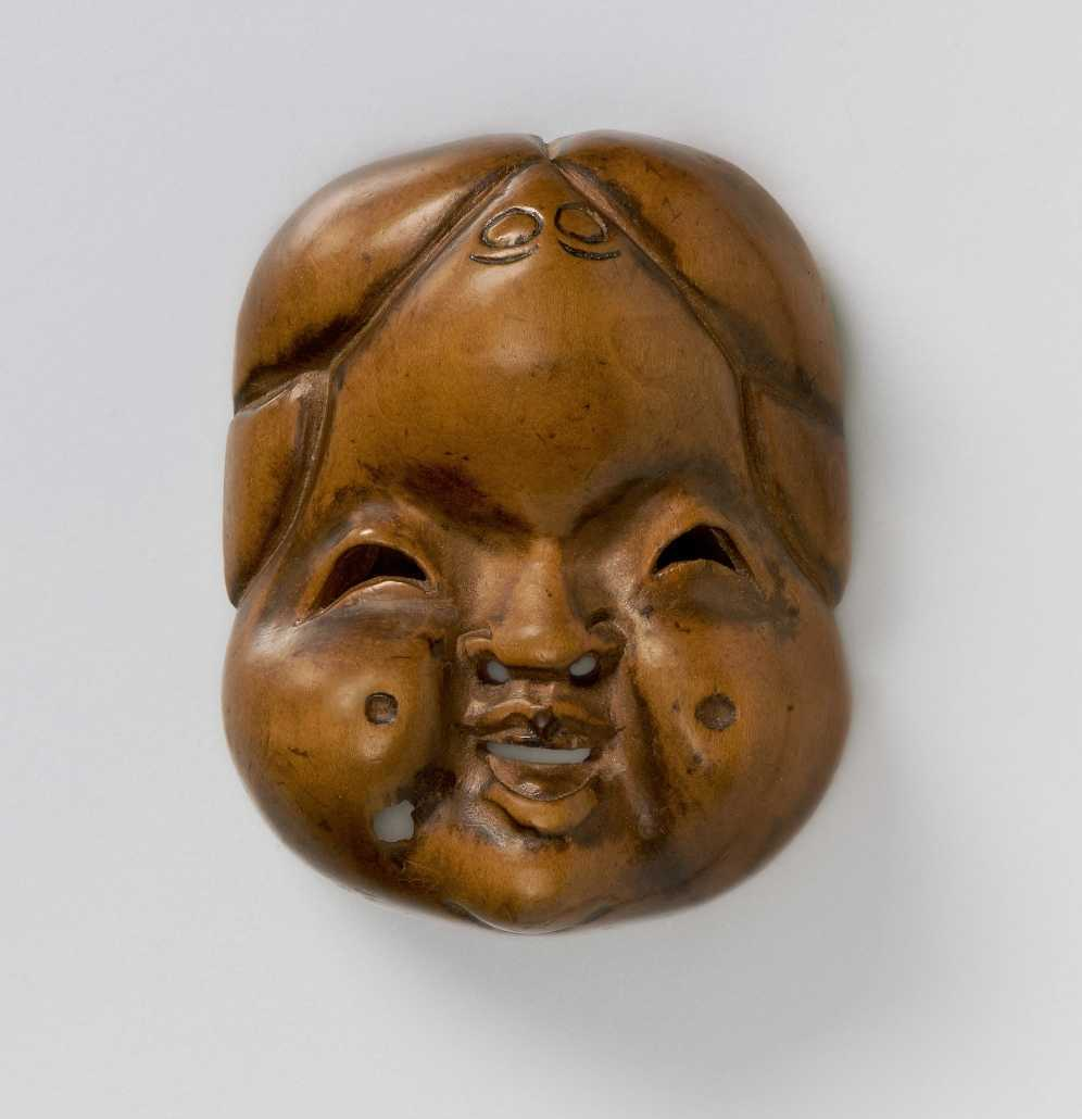 Wood mask netsuke of Okame