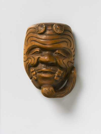 Wood mask netsuke of Okina