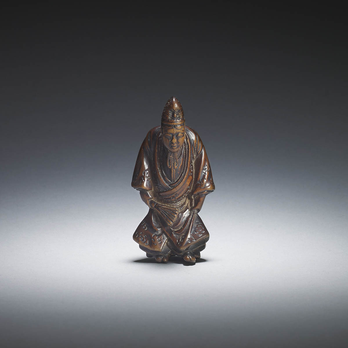 Gessho, wood netsuke of a temple servant