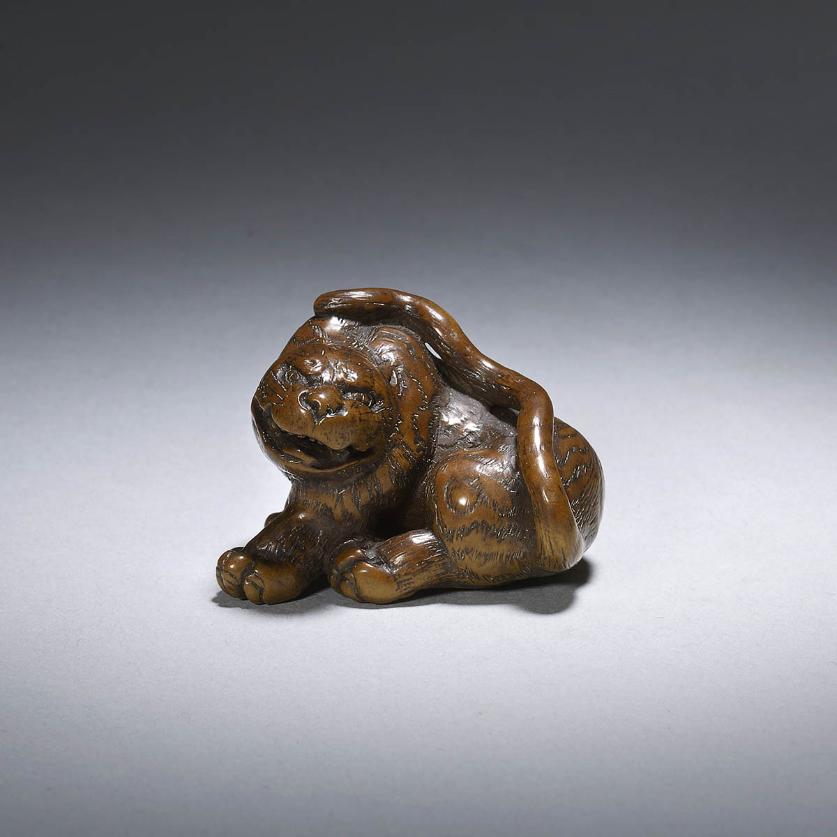 Kokei, wood netsuke of a tiger
