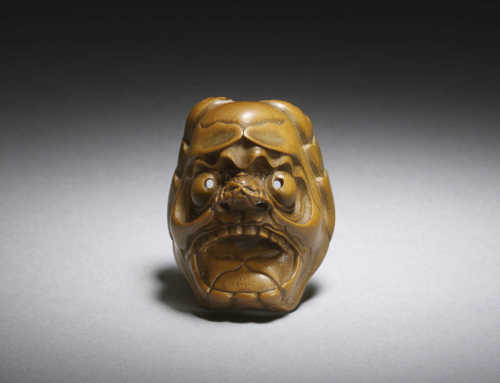 Wood mask netsuke