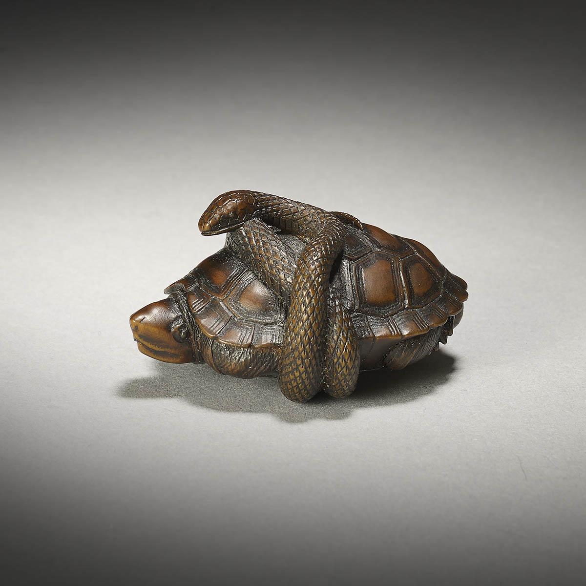 Masatami (Shomin), wood netsuke of a snake and turtle