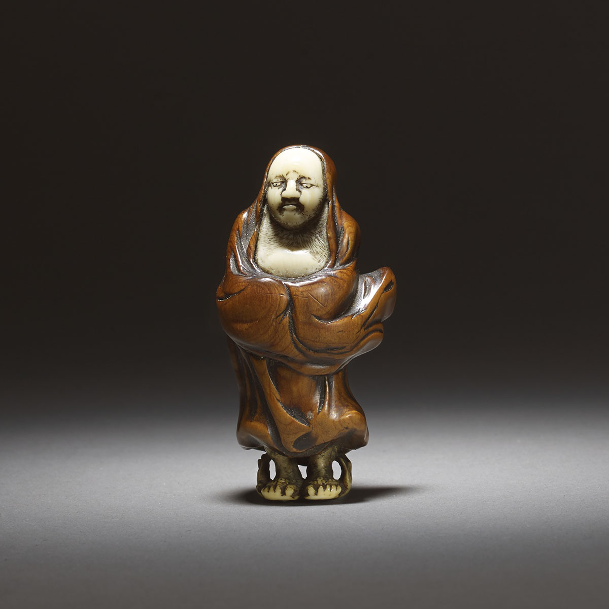 Shounsai Joryu, wood and ivory netsuke of Daruma_