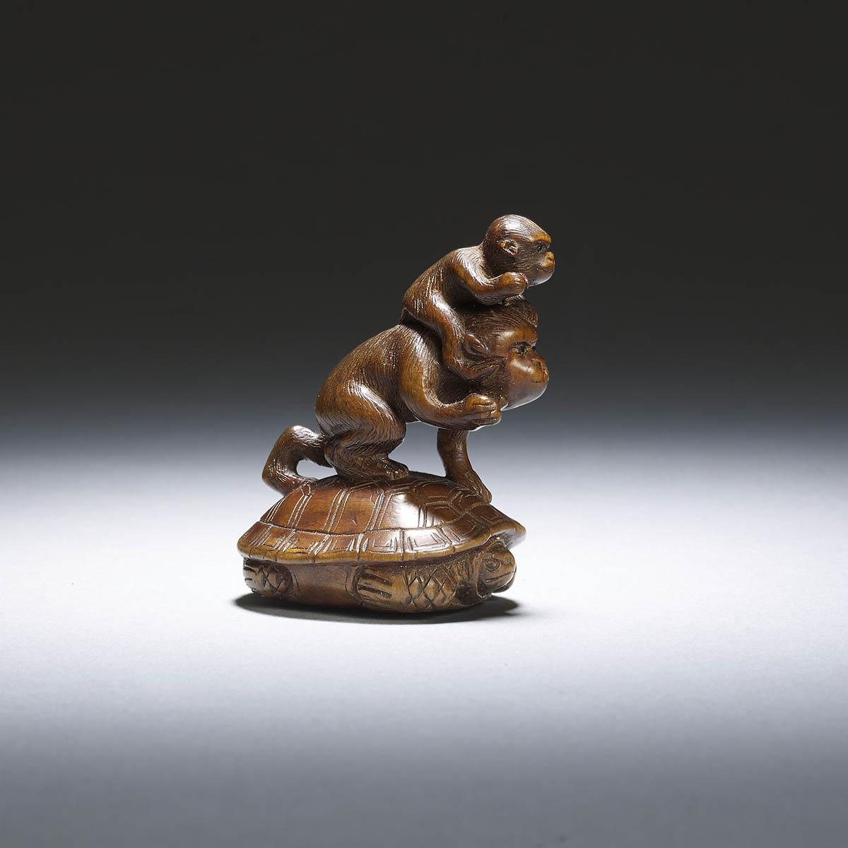 Sogetsu, wood netsuke of two monkeys on a turtle