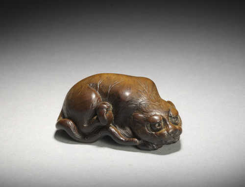 **SOLD** Wood netsuke of a tiger