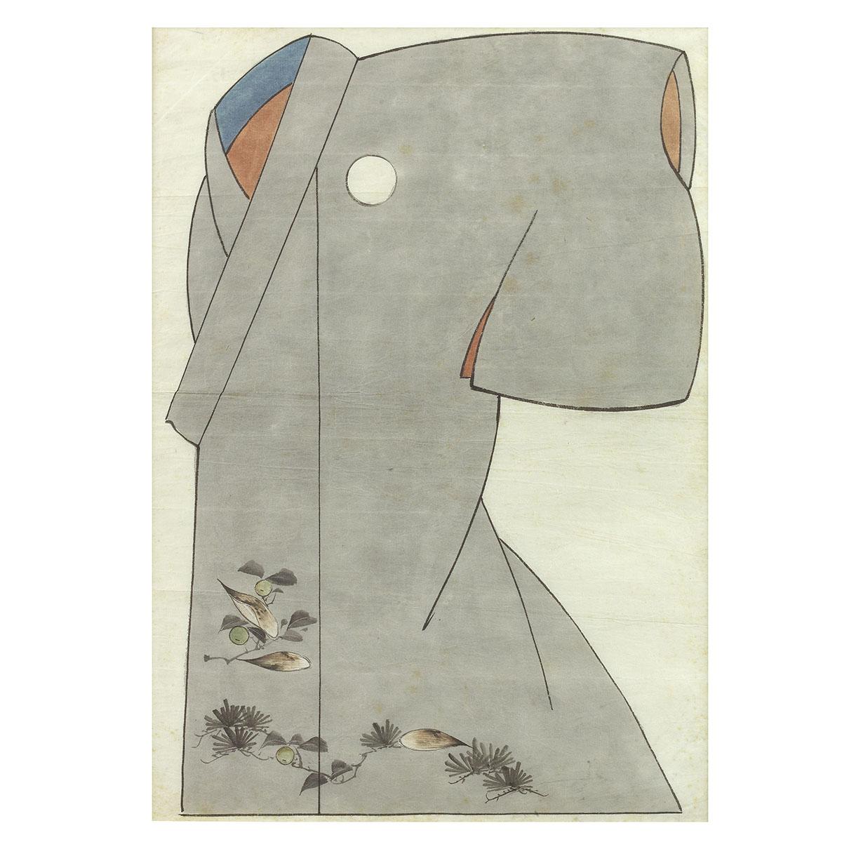 Aquarellstudie eines grauen Kimonos