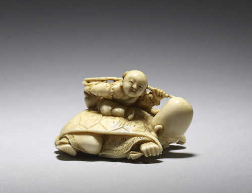 Ivory netsuke, a mitate on the story of Urashima Taro