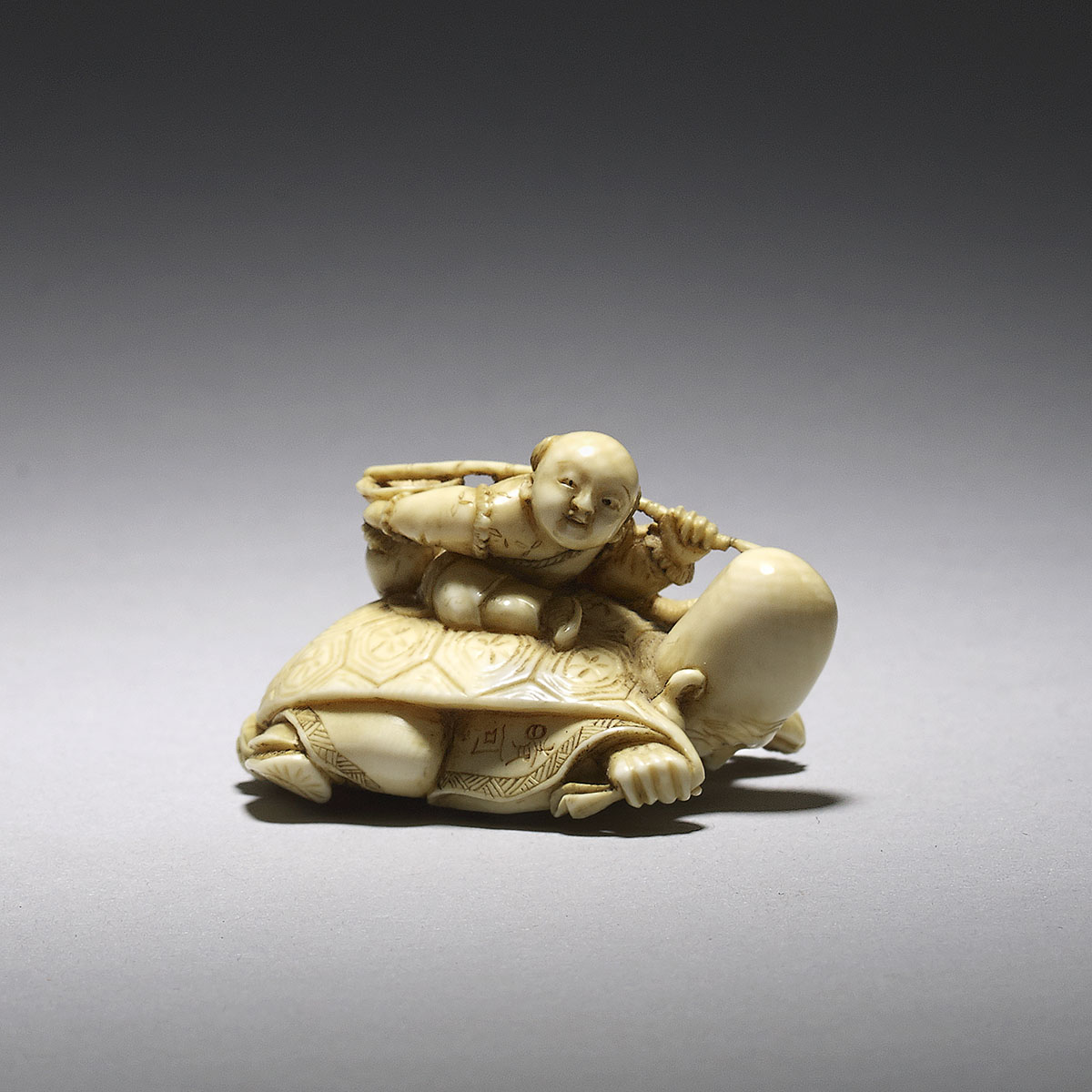 Ivory netsuke, a mitate on the story of Urashima Taro