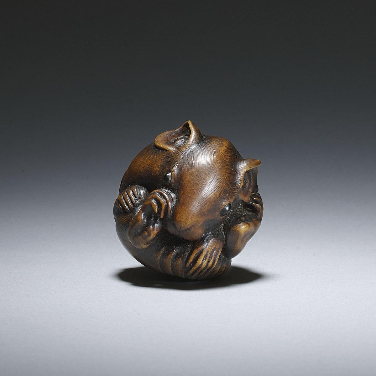 Masanao of Yamada, boxwood netsuke of a coiled rat