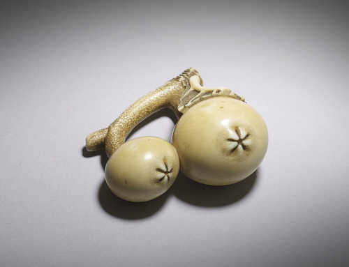Ivory netsuke of two biwa fruit
