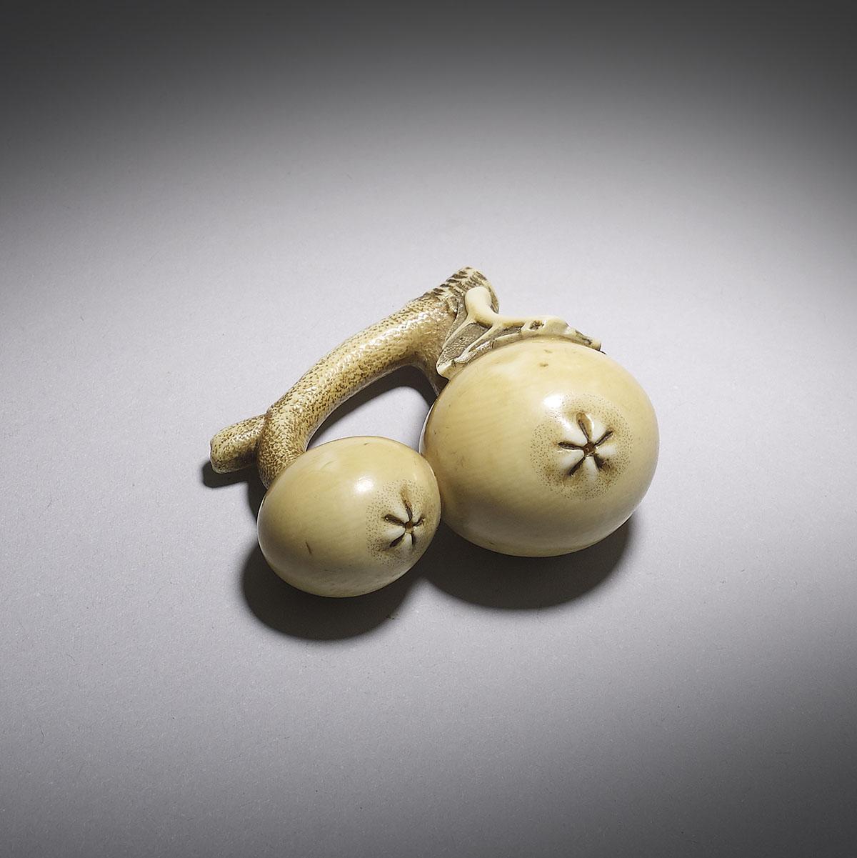 Ohara Mitsuhiro, ivory netsuke of two biwa fruit